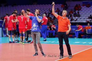 Yoan, avec Flo Rudig pendant la VolleyBall Nations League