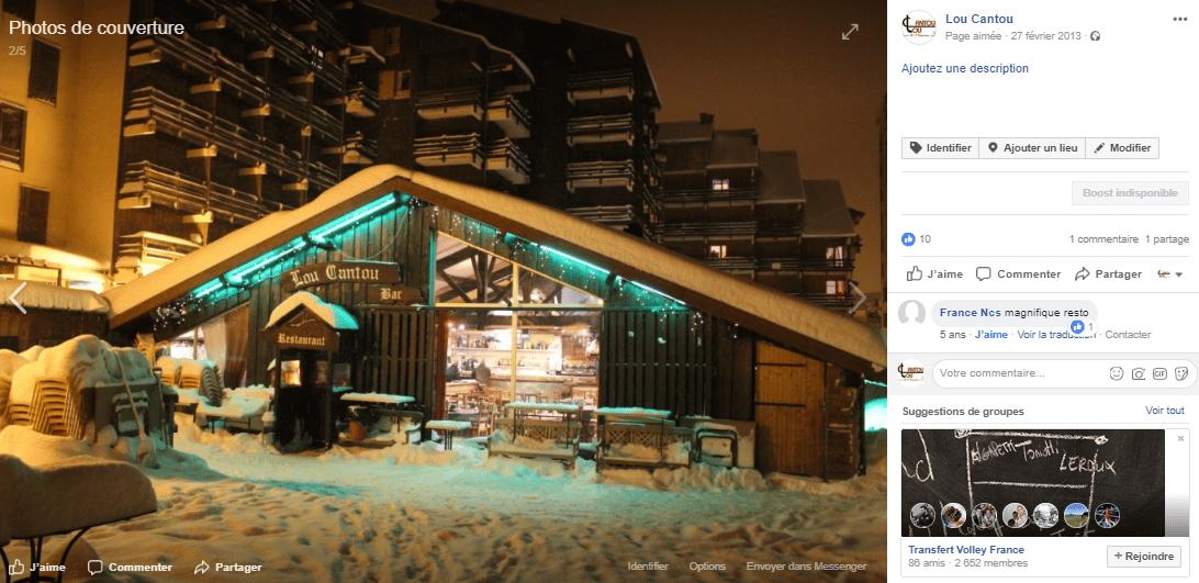 Visuel de Community Manager pour un restaurant, Le Lou Cantou sur une station de ski en Ariège