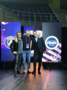 Yoan, Pierre Veillet et Mickaël Richard à l'animation de la Coupe de la Ligue Nationale de Handball