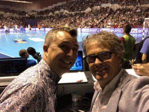 Yoan et Pierre, animateurs de la Coupe de la Ligue de Handball