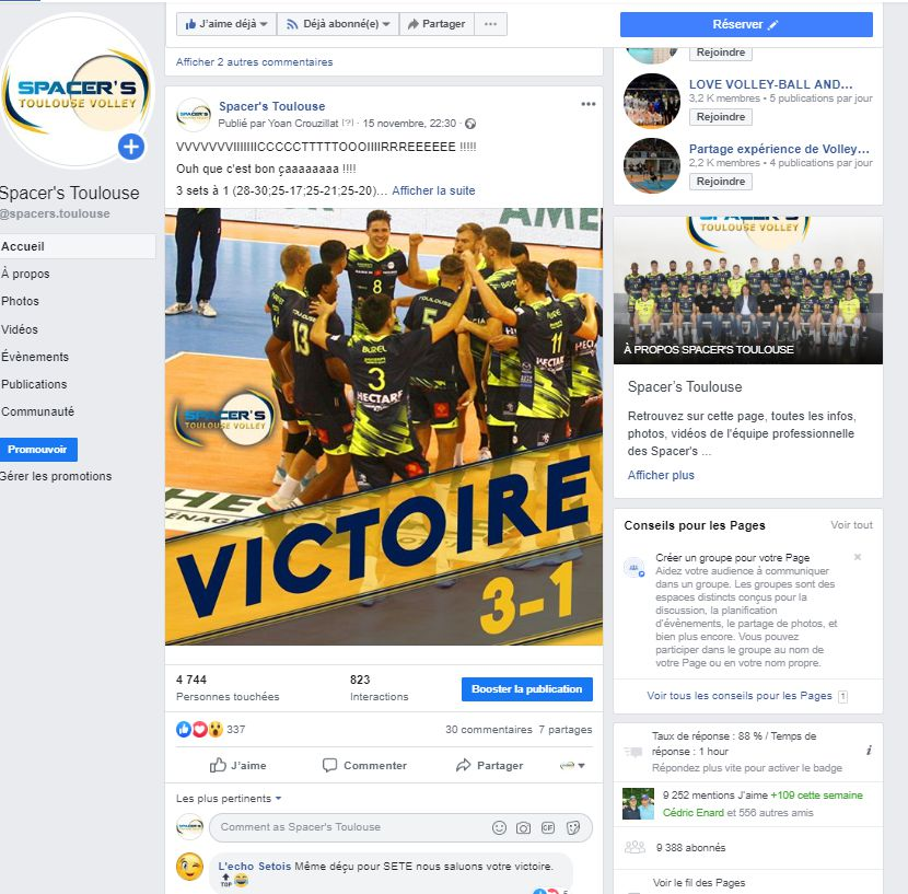 Yoan community manager des Spacer's Volley Toulouse
