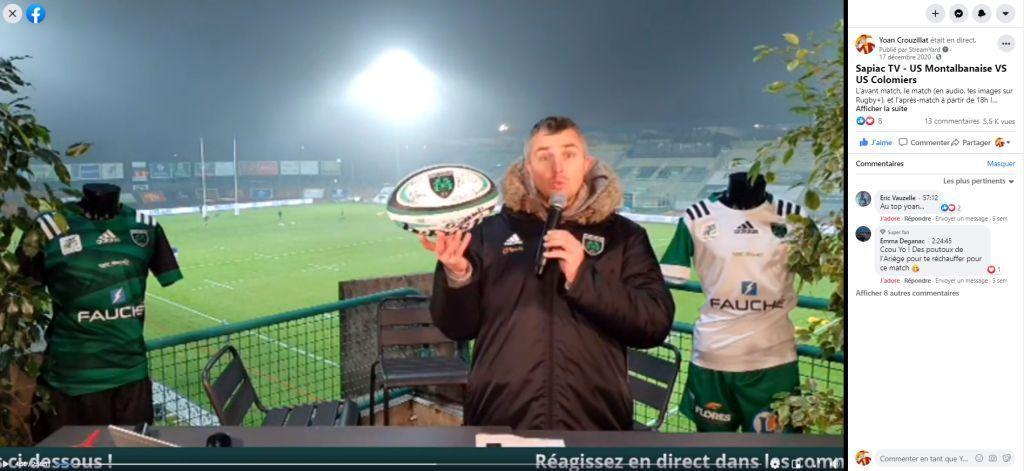 Live facebook pour le présentateur Yoan en rugby à Montauban