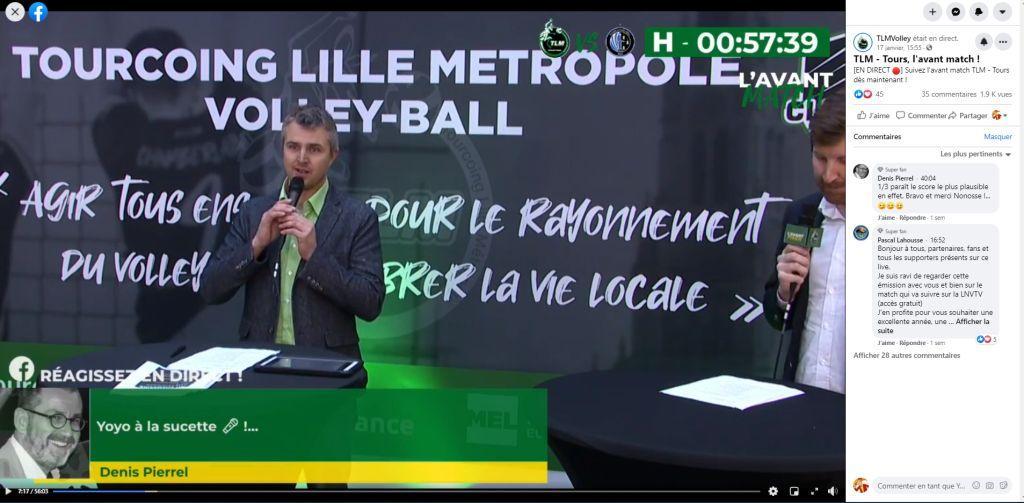Présentateur de l'émission live d'avant match pour Tourcoing