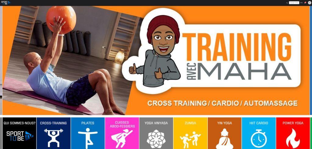 Page accueil de la Sport To Be Tv qui propose du sport en ligne