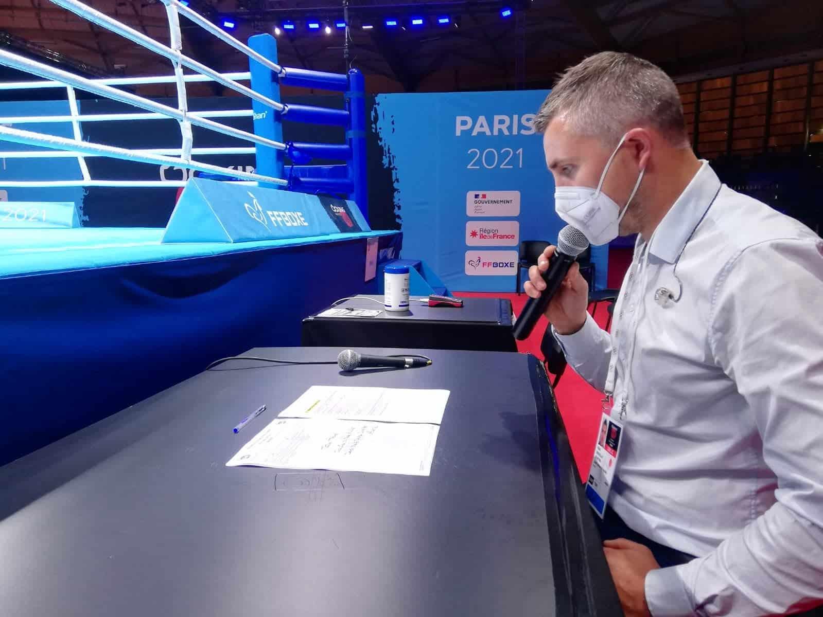 Yoan, speaker du Tournoi de Qualification Olympique de Boxe